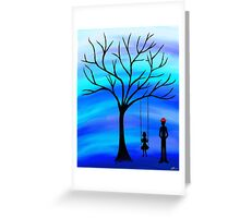 Father and Daughter Blue Greeting Card
