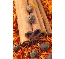 Macro view of the cinnamone, peppercorn and saffron Photographic Print