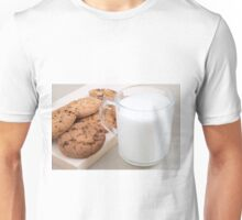 Cup with milk and oatmeal cookies Unisex T-Shirt