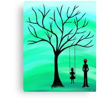 Father and Daughter Green Canvas Print