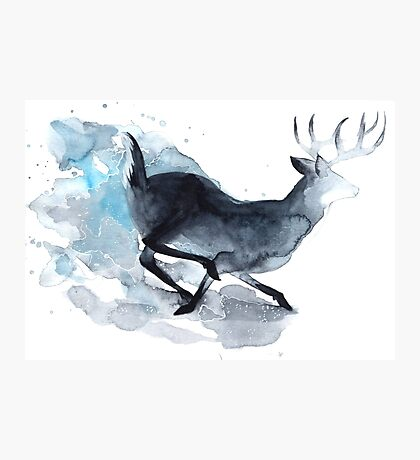 Watercolor Deer Photographic Print