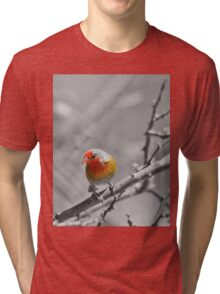 Melba Finch - Selective Coloring - Wildlife Colors of Gold and Red Tri-blend T-Shirt