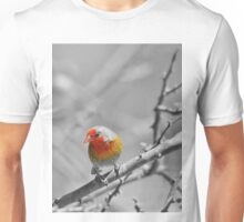 Melba Finch - Selective Coloring - Wildlife Colors of Gold and Red Unisex T-Shirt