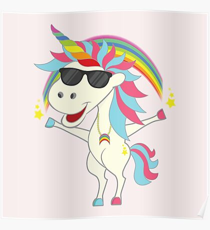 Crazy Unicorn - Cool Rainbow Poster