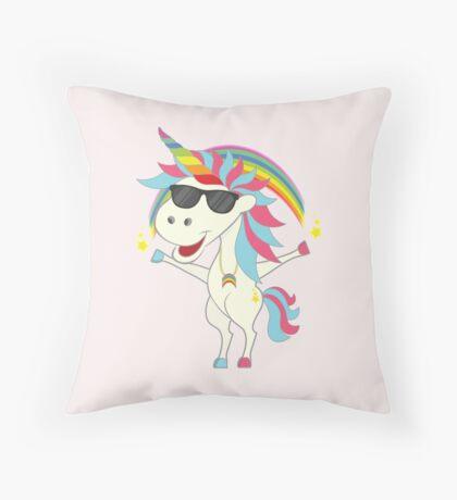Crazy Unicorn - Cool Rainbow Throw Pillow
