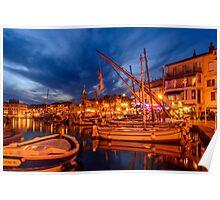 Port of Sanary-sur-Mer in the evening, Var, France Poster