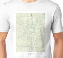 Amite Map Blue Vintage Unisex T-Shirt