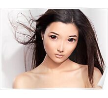 Young asian woman anime style beauty portrait art photo print Poster