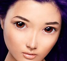 Young asian woman anime style beauty portrait with purple hair art photo print by ArtNudePhotos
