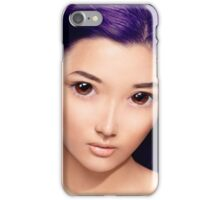 Young asian woman anime style beauty portrait with purple hair art photo print iPhone Case/Skin