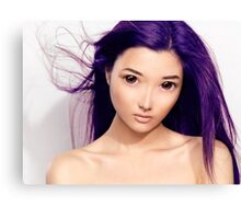 Young asian woman anime style beauty portrait with purple hair art photo print Canvas Print