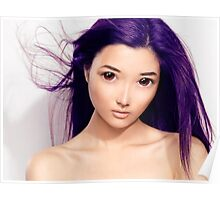 Young asian woman anime style beauty portrait with purple hair art photo print Poster