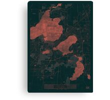 Madison Map Red Canvas Print