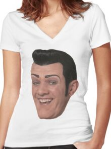 Robbie Rotten Face Women's Fitted V-Neck T-Shirt