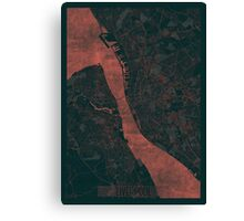 Liverpool Map Red Canvas Print