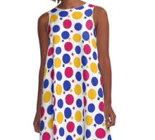 Blue, Yellow and Pink Polka Dots And Squares  A-Line Dress