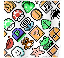 Super Mario Bros. 3 / Items 2 / pattern / blue Poster