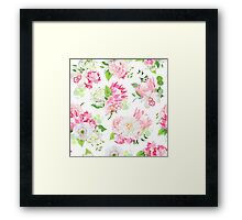 Spring mixed bouquets of pink hydrangea, protea, white poppy, dahlia, orchid and bright green plants seamless vector design pattern. Modern funky stylish bunch of flowers print.  Framed Print