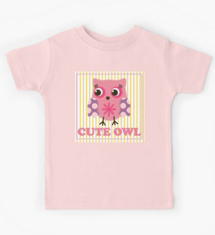 Cute girl owl illustration for apparel or other uses,in vector. Baby showers, parties for baby girls. Kids Tee