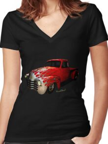 Flaming Chevy Pickup T-Shirt! Women's Fitted V-Neck T-Shirt