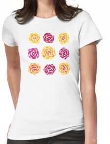 Mixed Rose Flower Pattern Womens Fitted T-Shirt