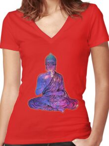 Space Buddha Dictionary Art Women's Fitted V-Neck T-Shirt