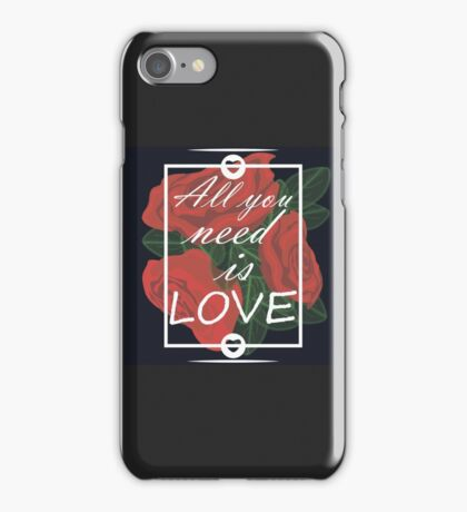 graphic print with flowers iPhone Case/Skin