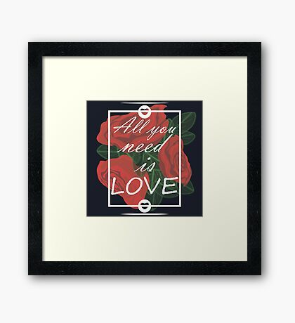 graphic print with flowers Framed Print