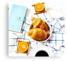 Fresh baked tasty croissant for breakfast Canvas Print