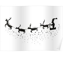 Sleigh Silhouette With Reindeer And Santa Poster