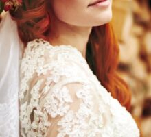 Beautiful red hair bride with flowers Sticker