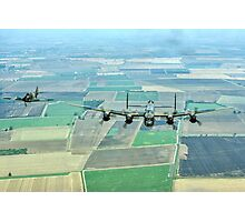 Escorted Lancaster over the Lincolnshire Fens Photographic Print