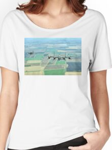 Escorted Lancaster over the Lincolnshire Fens Women's Relaxed Fit T-Shirt
