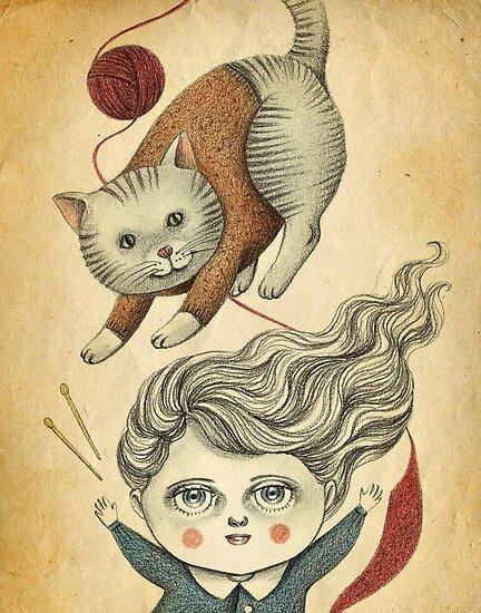 Kitty Knitting by Amalia K