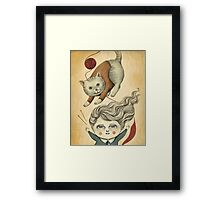 Kitty Knitting Framed Print