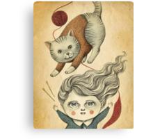 Kitty Knitting Canvas Print