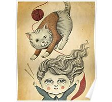 Kitty Knitting Poster