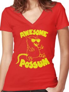 Awesome Possum Women's Fitted V-Neck T-Shirt