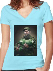 Fidel Castro The Hero of Cuba Women's Fitted V-Neck T-Shirt