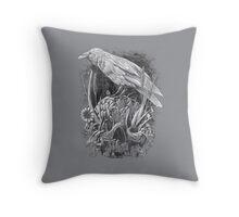 White Raven Throw Pillow