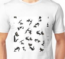 Black cats different size and poses pattern Unisex T-Shirt