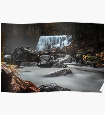 End of Fall waterfall photograph Poster