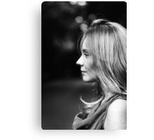 Beautiful black and white portrait of young woman Canvas Print