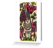 Hello Friend Forest Gnome and Frog Greeting Card