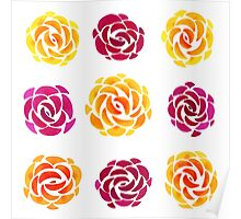 Mixed Rose Flower Pattern Poster