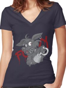 Foxy - Grayscale Women's Fitted V-Neck T-Shirt