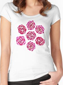 Pink Rose Flower Pattern Women's Fitted Scoop T-Shirt