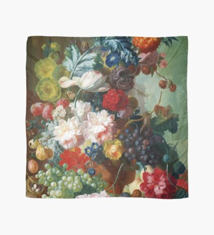 Fruit and Flowers in a Terracotta Vase by Jan van Os Scarf