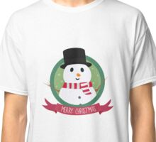 Christmas Snowman with Snowflakes Classic T-Shirt