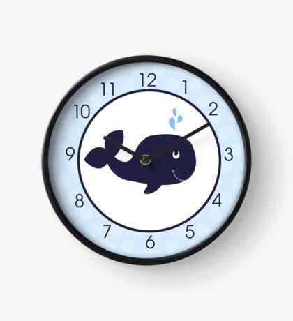 Navy Blue Whale Cute Wall Clock with Light Blue Dot Border Clock
